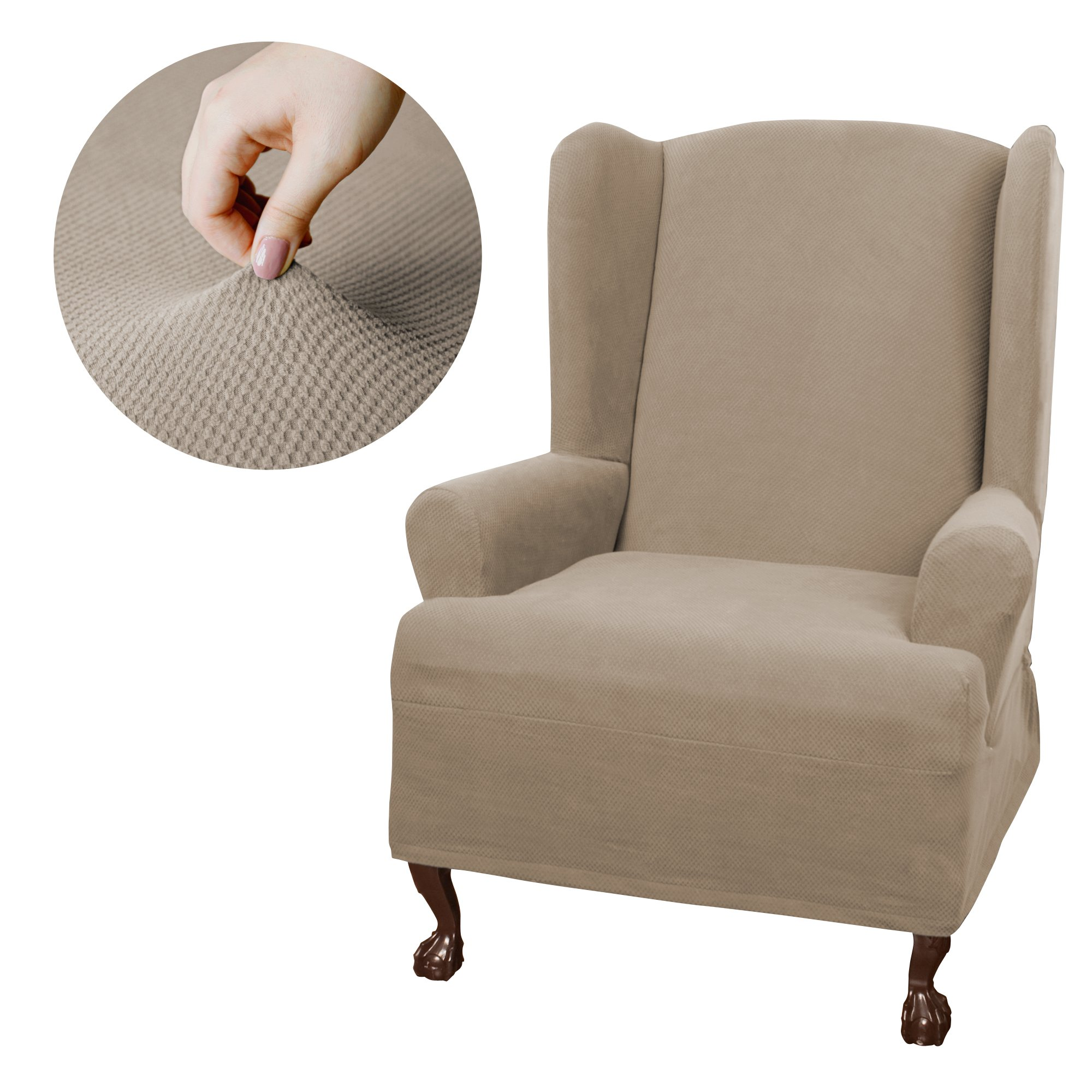 MAYTEX Pixel Stretch 1-Piece Wing Back Arm Chair Furniture Cover/Slipcover, Sand