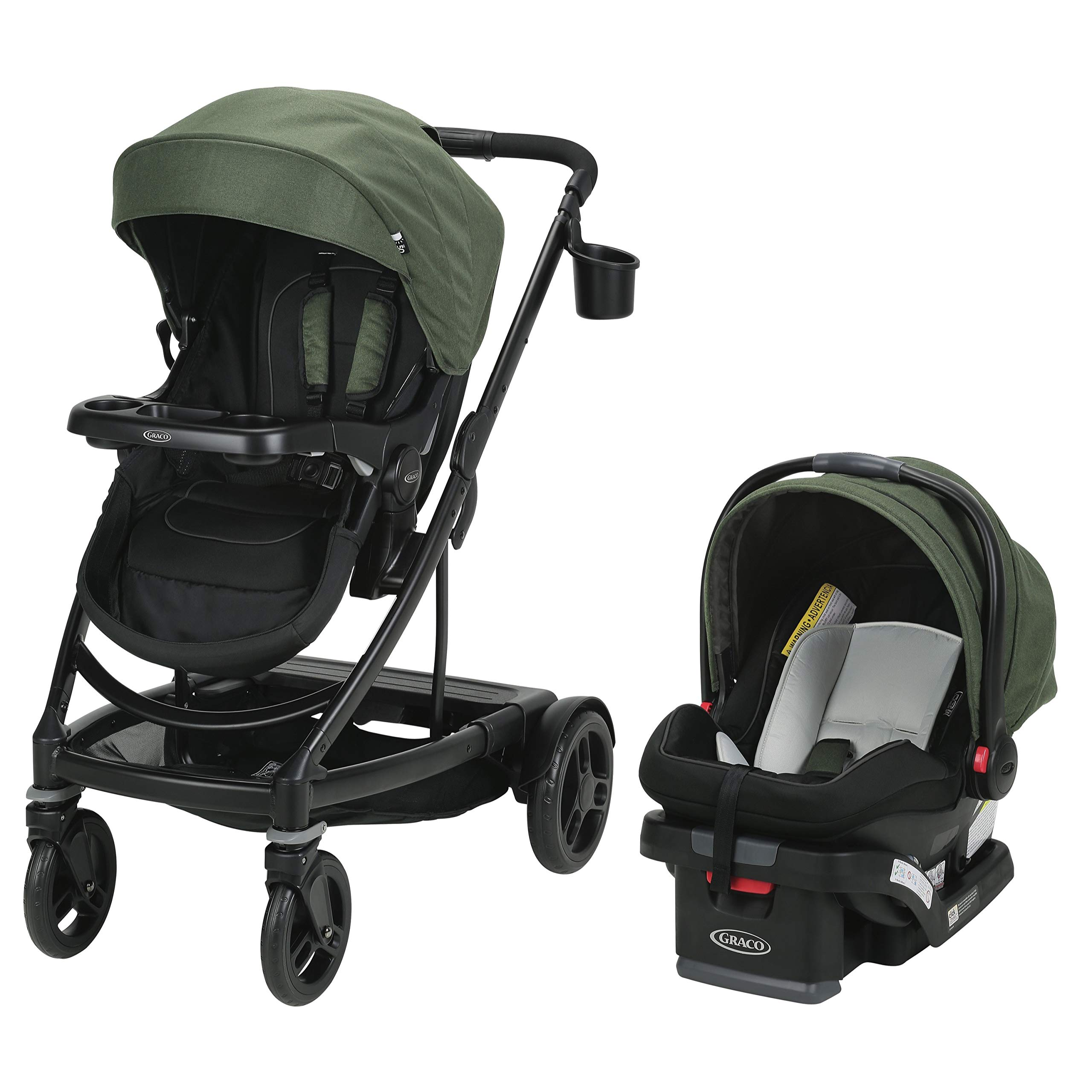 Graco Uno2Duo Travel System | Includes UNO2DUO Stroller and SnugRide SnugLock35 Infant Car Seat, Goes from Single to Double Stroller, Jules by Graco