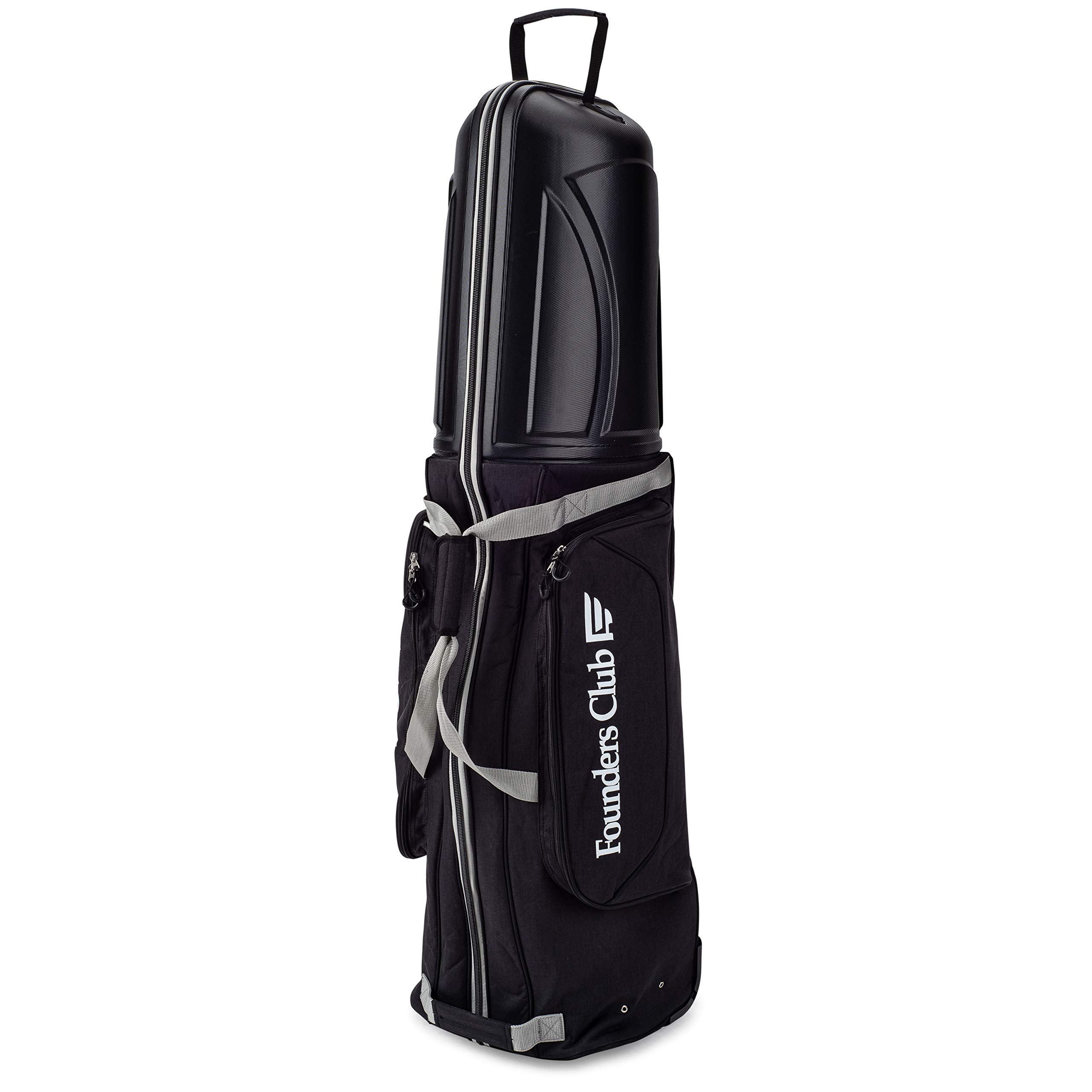 Founders Club Golf Travel Cover Luggage for Golf Clubs with ABS Hard Shell Top Travel Bag (Black) by Founders Club