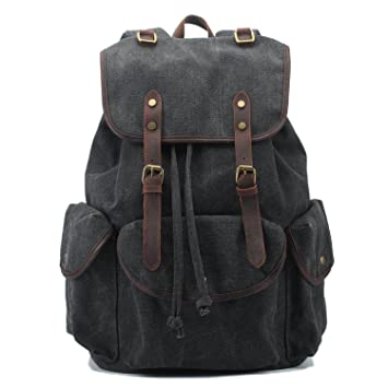 SUVOM Vintage Canvas Rucksack Casual Daypack For Men Women Teenagers 156quot Laptop Backpack