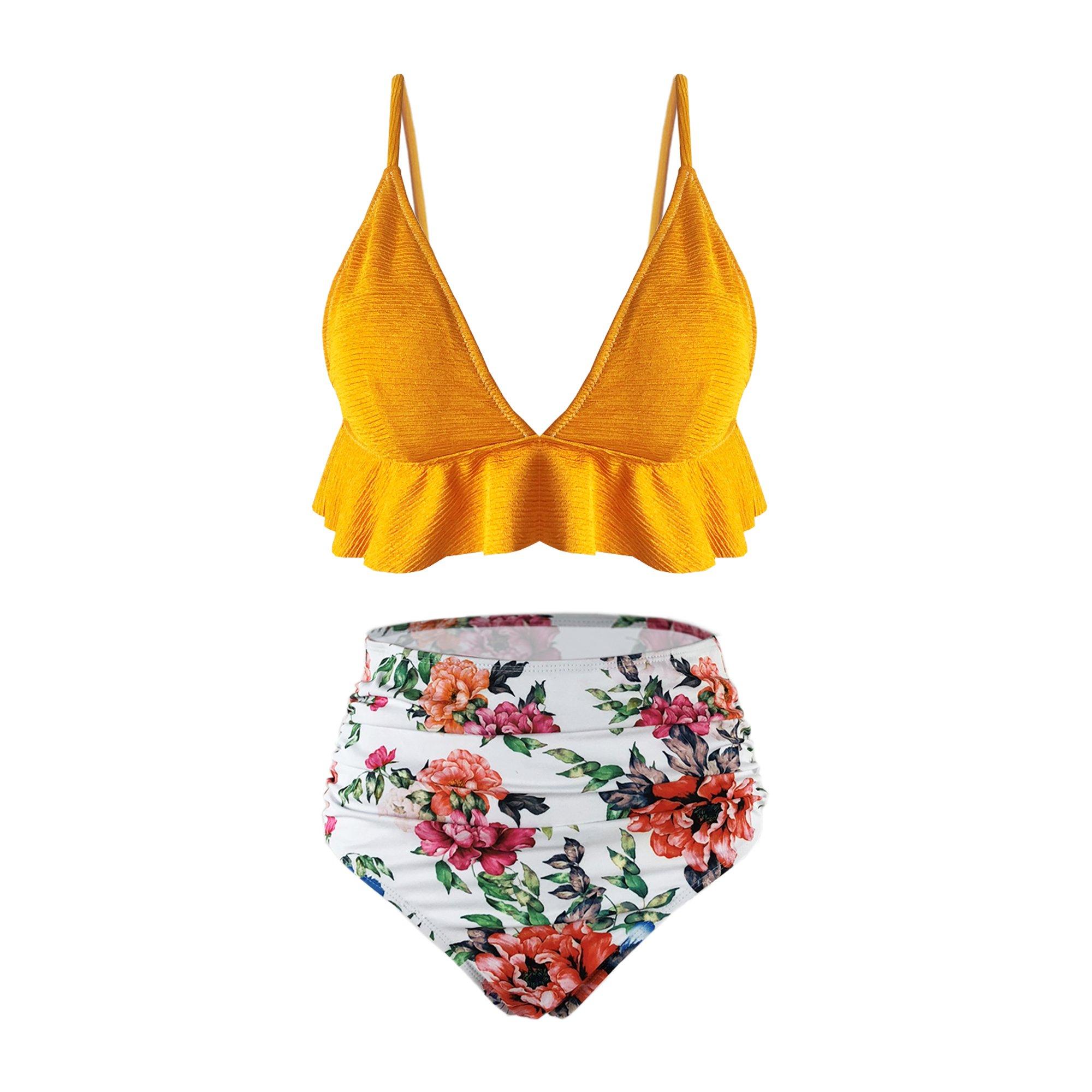 SS Queen Womens High Waisted Swimsuit Ruffle Print Bikini Swimwear Two Pieces Bathing Suit