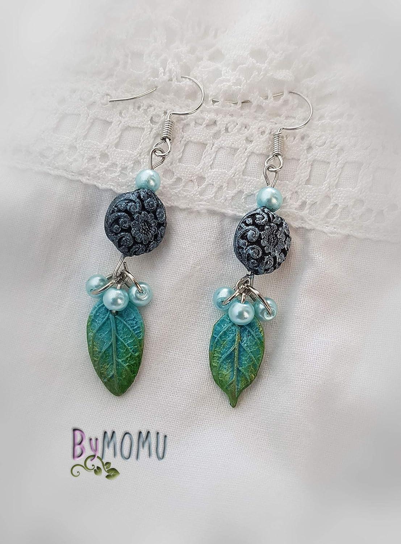 Boucles doreilles AURA turquoises en porcelaine froide