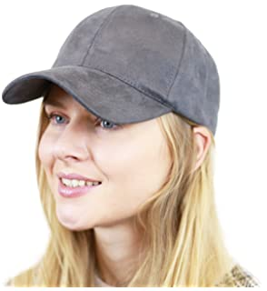 c4f1f02e48b THE HAT DEPOT Unisex Plain Faux Suede 6 Panel Solid Adjustable Baseball Cap