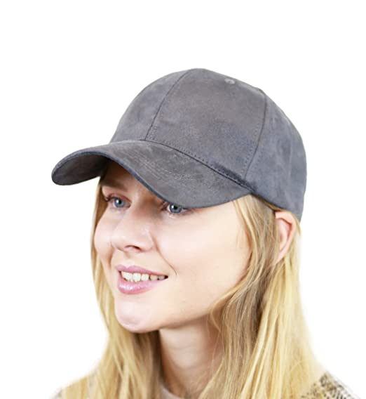 THE HAT DEPOT Unisex Plain Faux Suede 6 Panel Solid Adjustable Baseball Cap  (Grey) f264763a1176