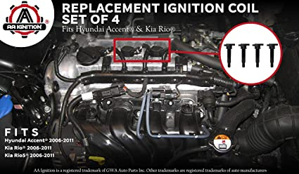 Ignition Coil Pack Set of 4 - Fits Hyundai Accent, Kia Rio - Replaces  27301-26640 - Ignition Coil Pack Fits 2010 Hyundai Accent, 2009 Hyundai  Accent,