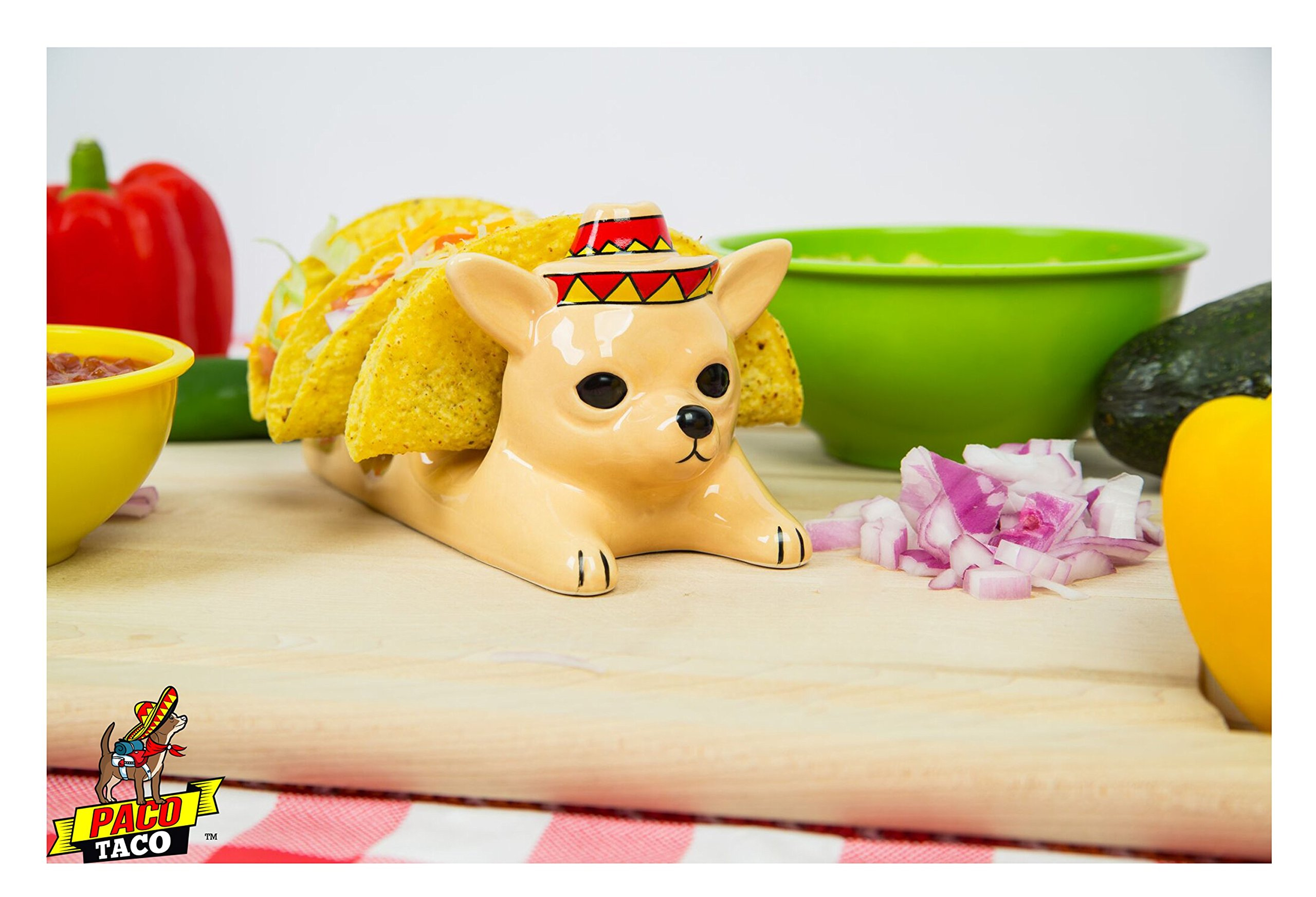 Chihuahua Taco Holder with Festive Sombrero - The Original PacoTaco - Fun Decorative Taco Holder - Restaurant Quality Hand Made Ceramic - 3 Tacos - Adorable Novelty - Dishwasher Safe