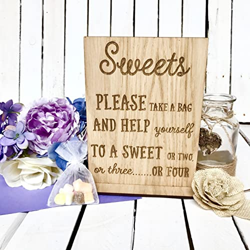 Wedding Wood Sweet Sign Rustic Wooden Signs Sweets Carttable For