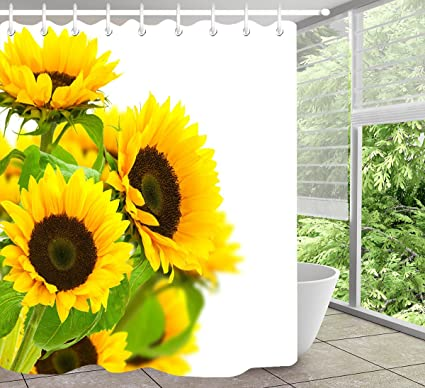 Amazon.com LB Sunflower White Background Shower Curtains