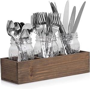 Besti Mason Jar Organizer – Kitchen Utensil Holder – Elegant Silverware Caddy – Farmhouse Table Décor – Decorative Rustic Mason Jars for Table Arrangements – 3 Jars on Wooden Tray