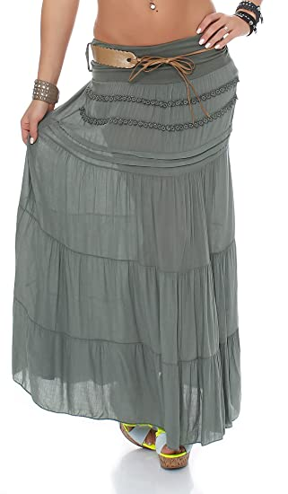 cleostyle Largo Mujer Falda Elegante Falda Falda Maxi con Correa ...