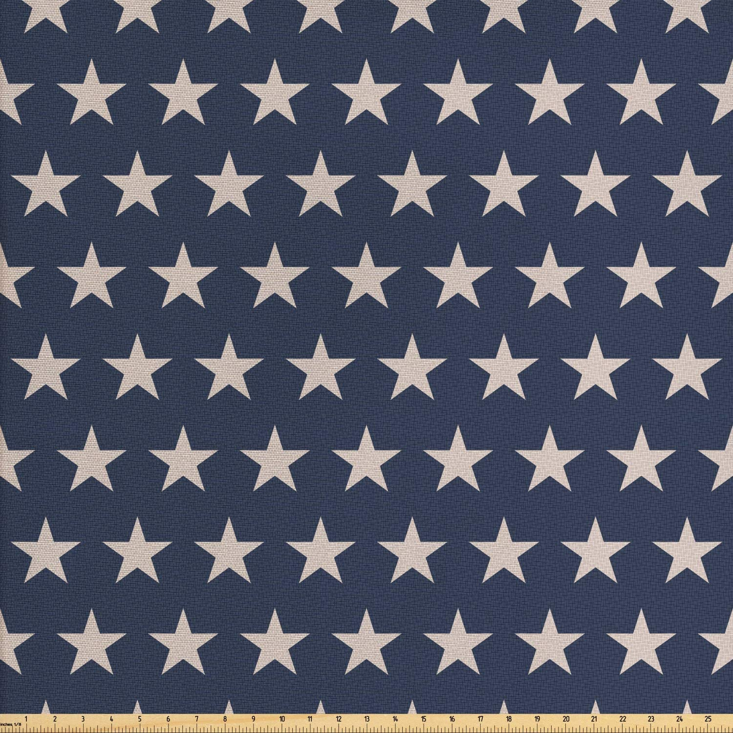 Ambesonne Star Fabric by The Yard, Patriotic Star of The American Flag Independence Themeds of Freedom, Decorative Fabric for Upholstery and Home Accents, 1 Yard, Night Blue