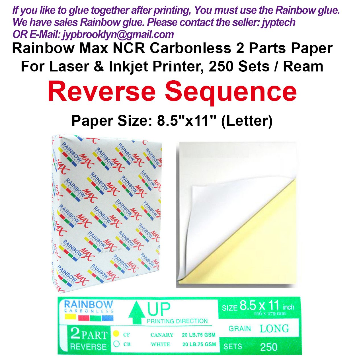 Rainbow Max NCR Carbonless Papers 2 Parts, Letter Size, White & Canary, for Laser & Inkjet Printer (250 Sets)