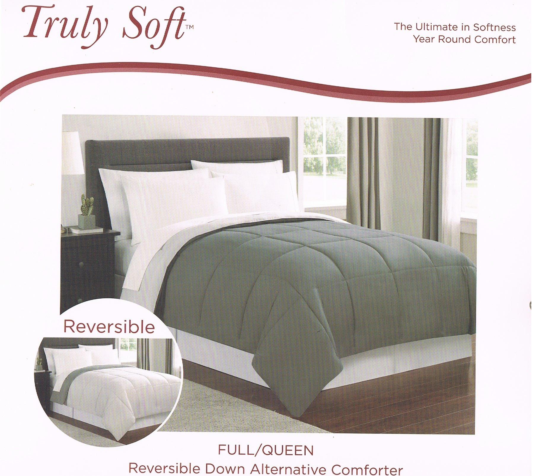 Truly Soft Reversible Down Alternative Comforter Dark and Light Gray Queen