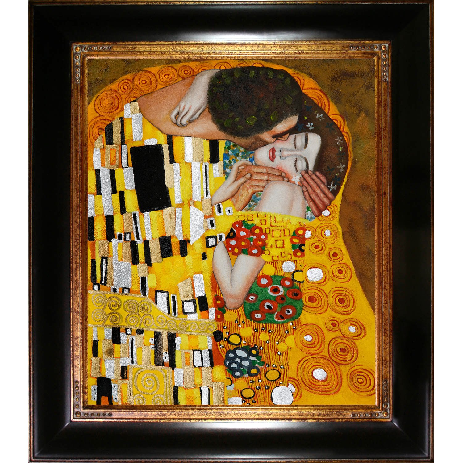 overstockArt Gustav Klimt The Kiss 20-Inch by 24-Inch Framed Oil Painting on Canvas