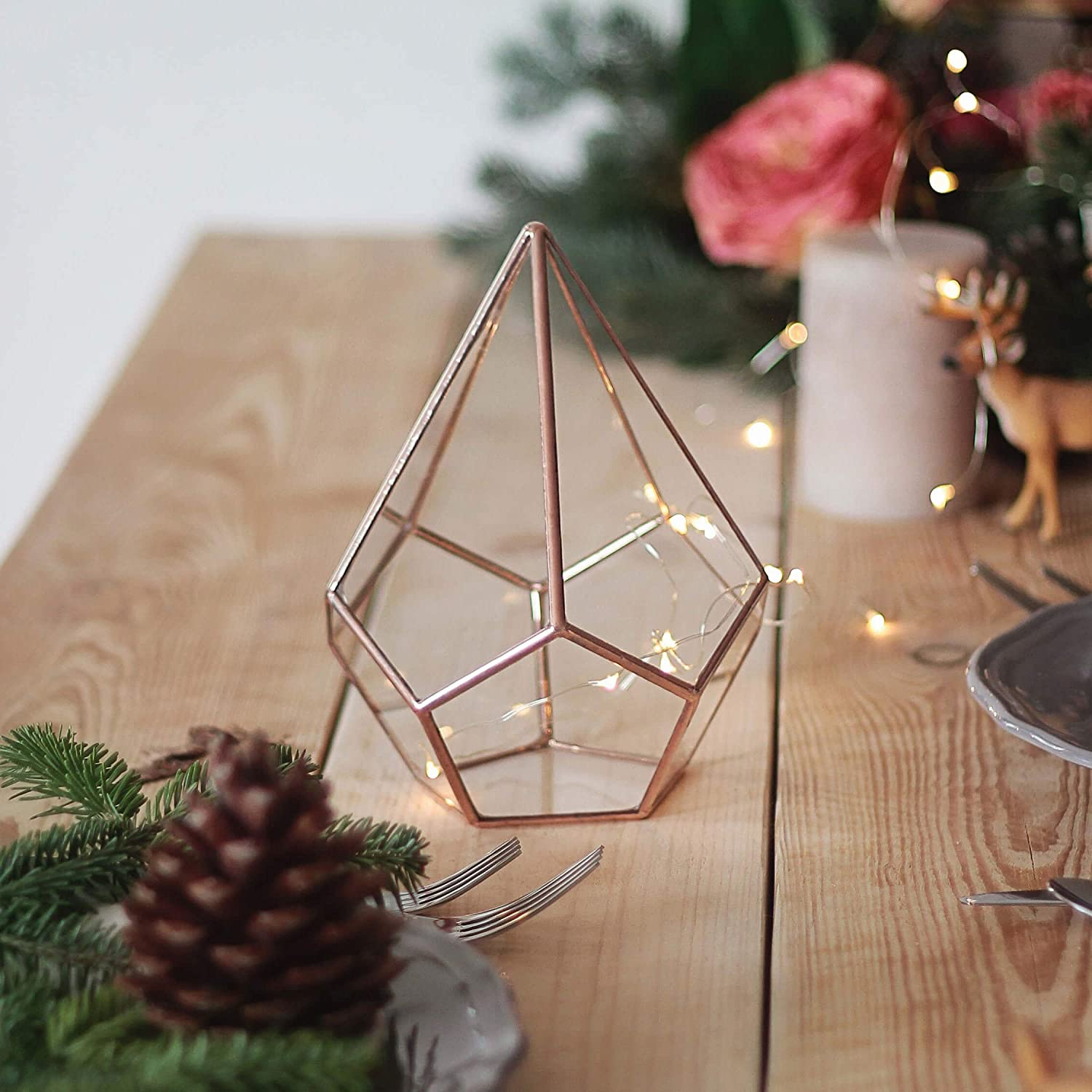 Waen Holiday Table Centerpiece Collection Small Glass Geometric Centerpiece - Teardrop (Copper, Silver, Black)