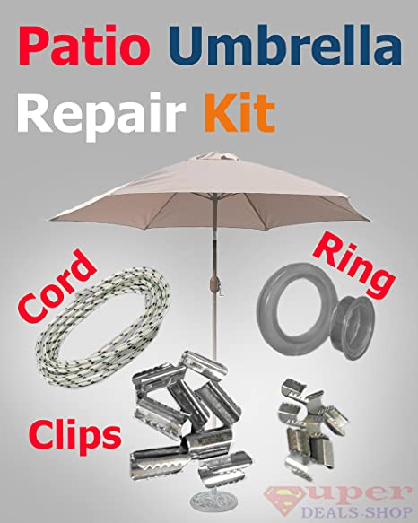 S-D-S Furniture Patio Umbrella Replacement Kit - Table Top (Hole Ring and Cap), Cord String and Clips, Repair Patio Garden Deck Pool Lawn Lounge Porch Yard Outdoors Super-Deals-Shop
