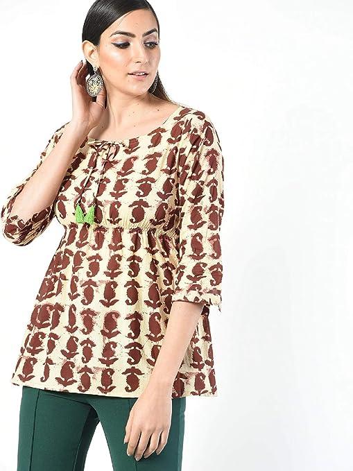 Indian Cotton Men All Size Shirt Kurta Top Tunic Up Hand Block Paisley Art Print