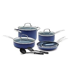 Blue Diamond Pan CC001602-001 Toxin Free Ceramic Nonstick Cookware Set 10pc Blue