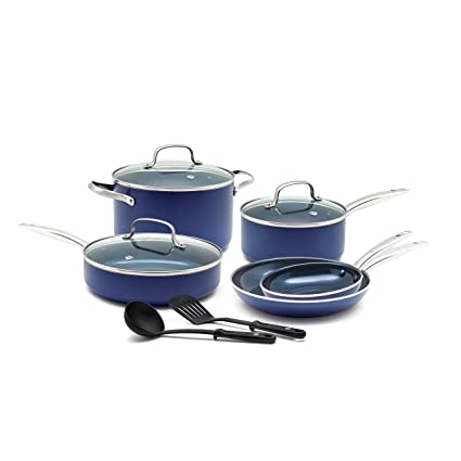 Good New Aluminium Non-stick Saucepan Glass Lid Cookware Set 7 Pack Blue Red Black High Safety Cookware, Dining & Bar