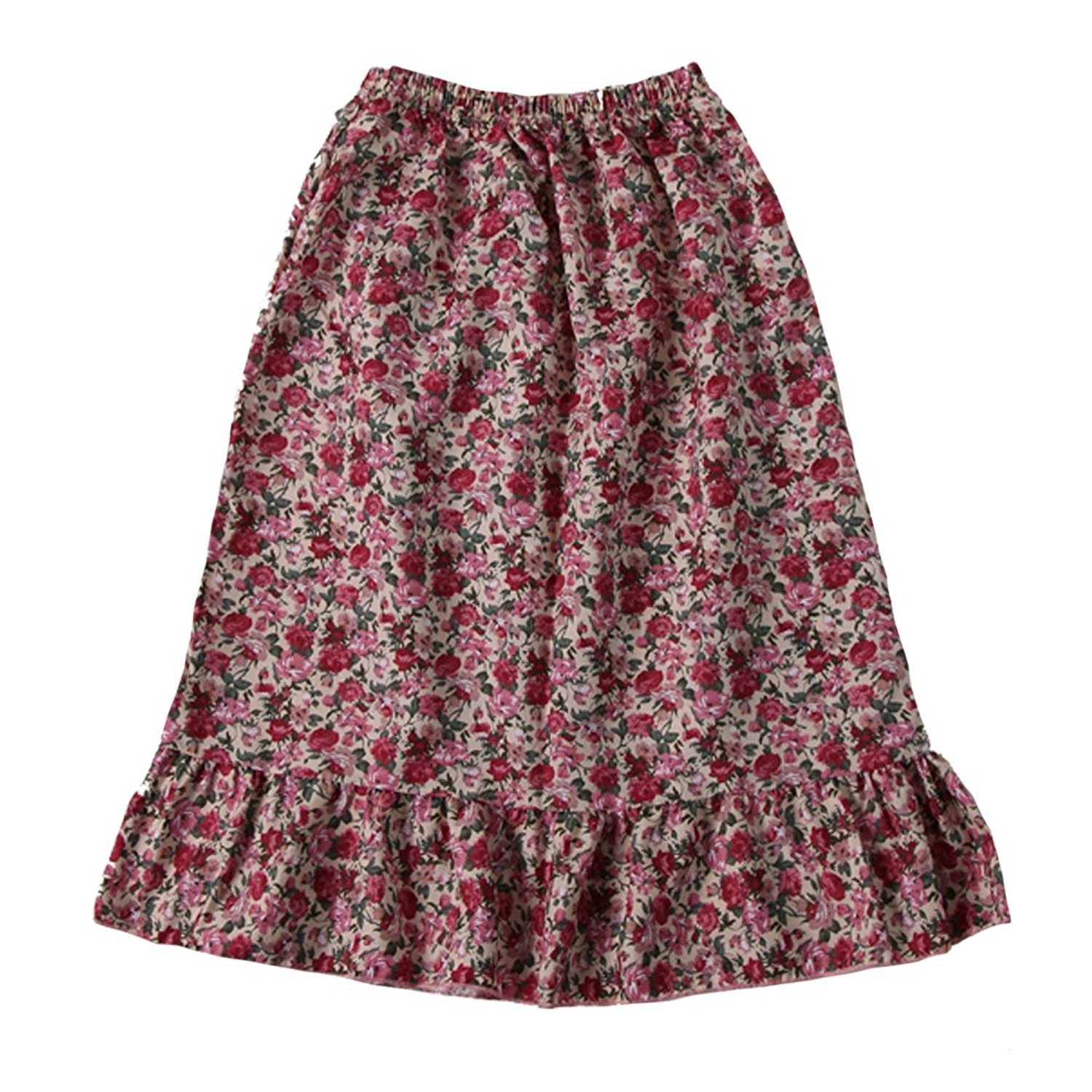 Making Believe Women's Calico Pioneer Peasant Costume Skirt (Women's X-Large 8/10, Pink Calico)