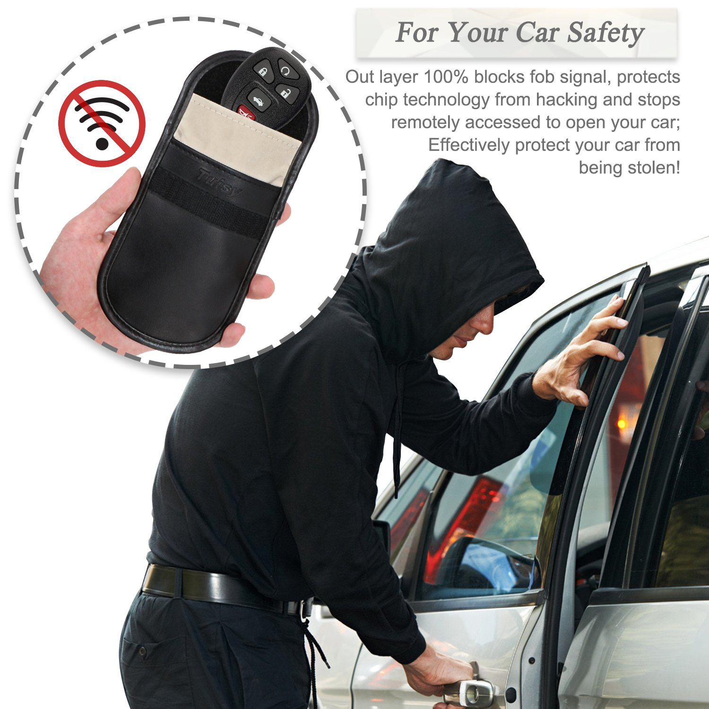 Tuisy Signal Blocker for Car Keys Mobile Phone - 2x Signal Blocking Pouch  Block RFID/WIFI/GSM/LTE/NFC Faraday Bag Antitheft Fob Guard Credit Card