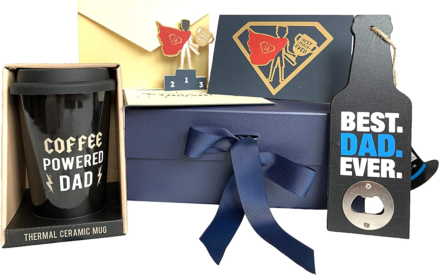 Special Unique Gift Box Ideas For Him Father Dad Daddy Men Birthday Amazing Gifts For The Best Dad Men At Home Coffee Powered Dad Travel Cup Beer Bottle Opener 3d Card Superhero Amazon Co Uk Kitchen