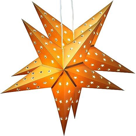 Stella Natale Di Carta.Brubaker Due Stelle Di Natale Stella Di Carta Carta Stella Pieghevole Con Luci Led 60 Cm O Oro
