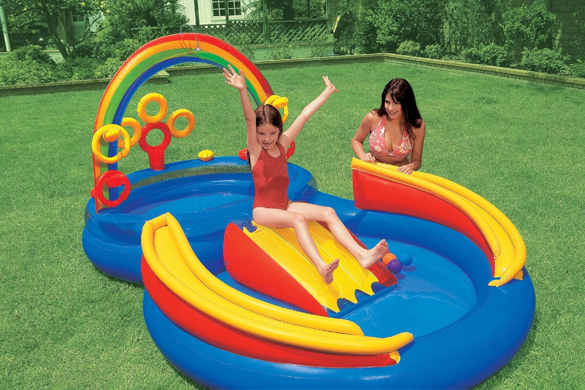 amazoncom intex inflatable kids poolwater play center wslide quick fill air pump toys games - Inflatable Pool Slide