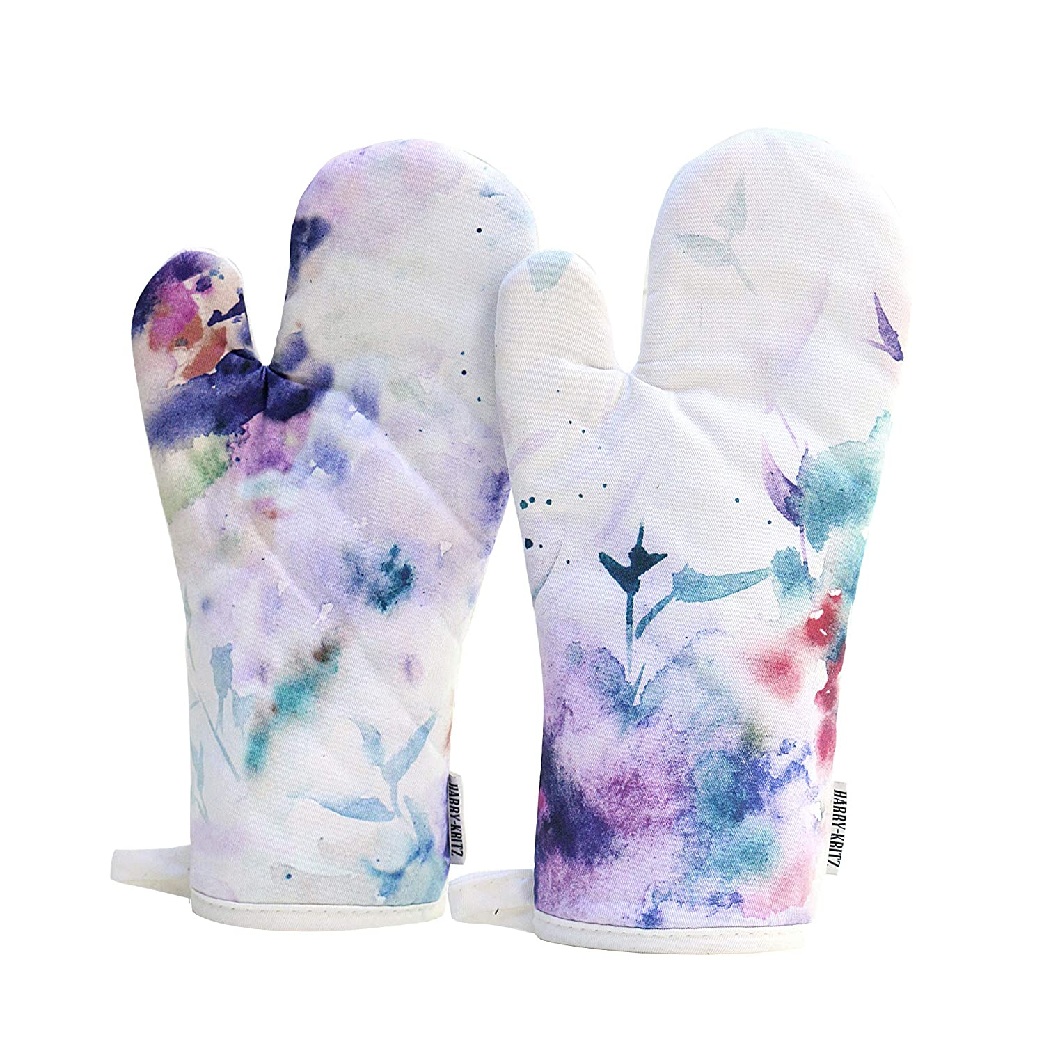 HARRY KRITZ - Color Stain 100% Cotton Set of 2 Oven Mitts (13 x 6.5 inches) Watercolor Spatter and Smear Design.