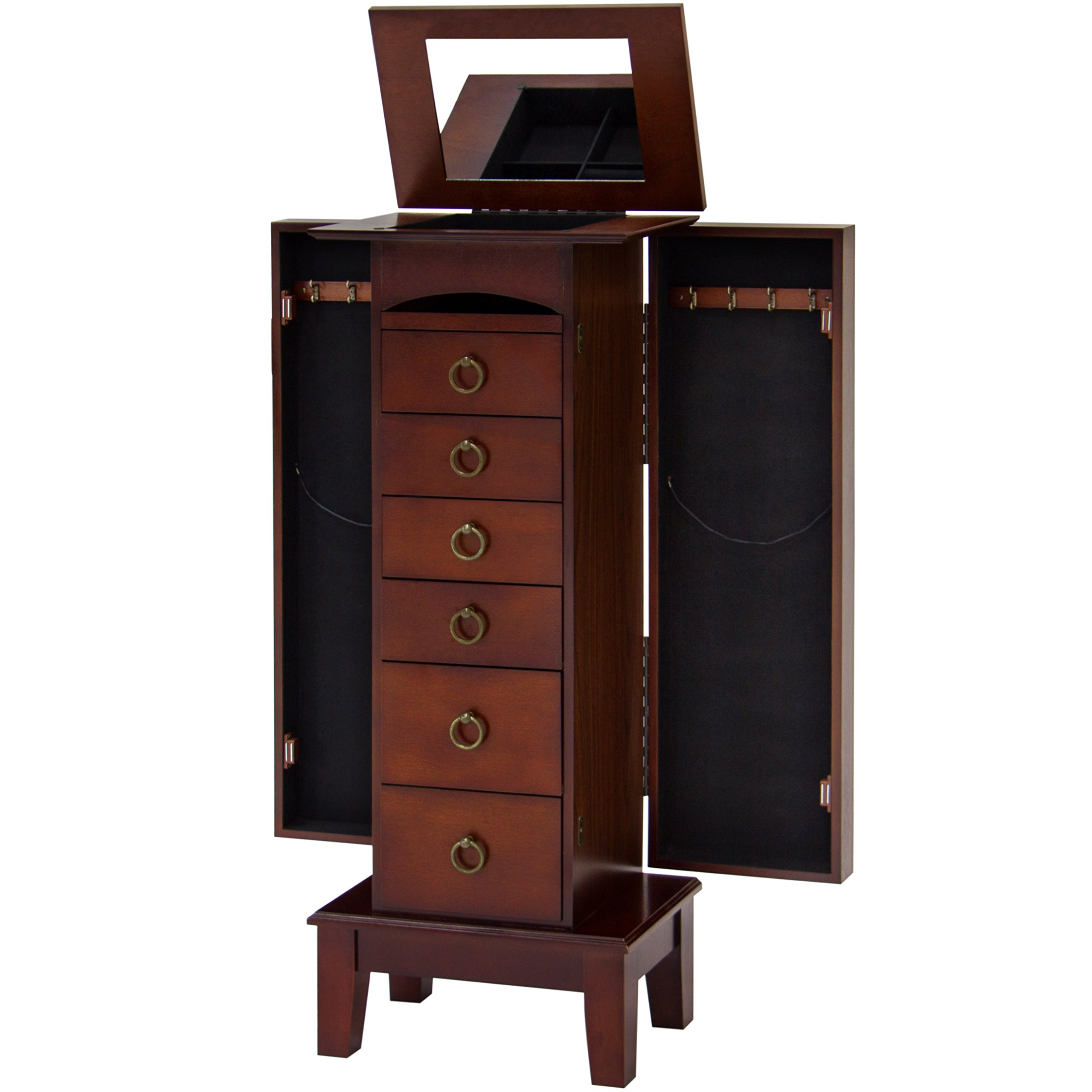 Best Choice Products Wooden Standing Jewelry Armoire Cabinet Chest Organizer