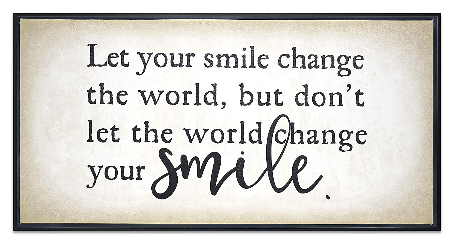 Homekor Your Smile Motivational Quote - Let Your Smile Change The World, But Dont Let The World Change Your Smile - Inspirational Hanging Wall Art Decor - Framed Canvas Print 24 x 12
