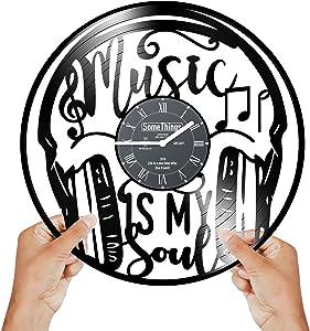 Music clock - Music Vinyl Clock - Music gifts - Music Wall Clock - Music Record Clock - Wall Clock Music - Headphones Clocks Music Vinyl Wall Clock Theme Notes Decor Record Clock Music Gift Art Black