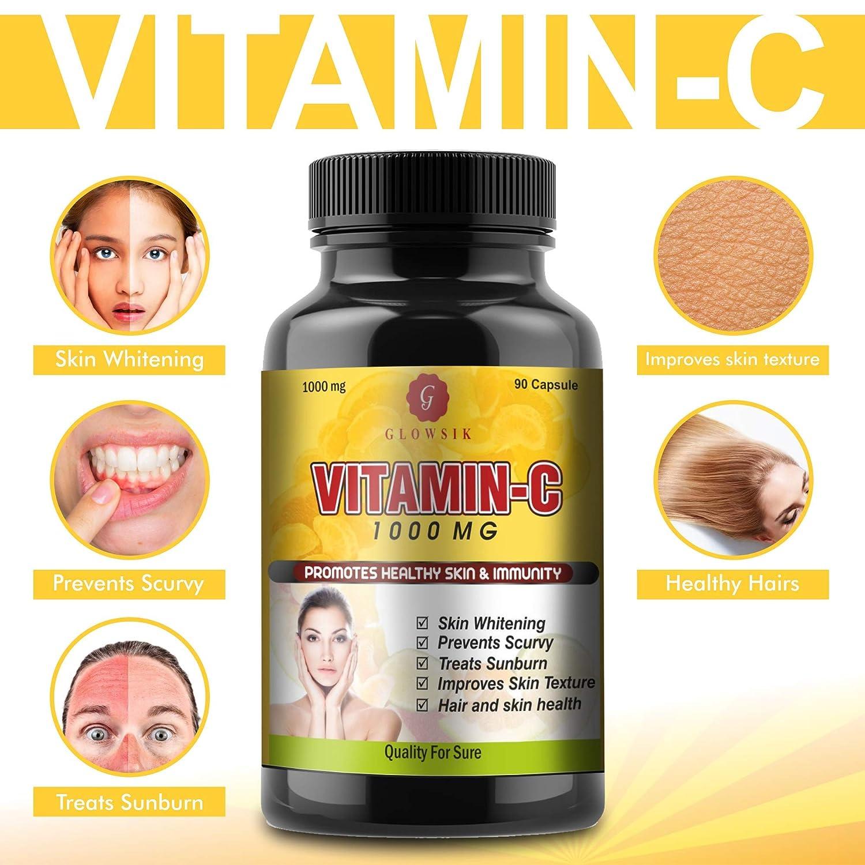 Buy Glowsik Vitamin C Capsules 1000Mg for Glow Skin - 90 Capsules ...