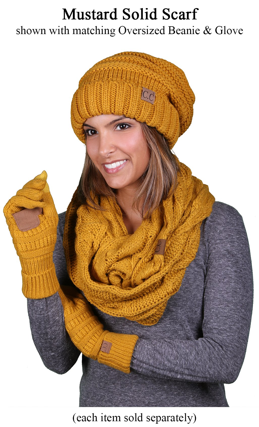 S1-6100-72 Funky Junque Infinity Scarf - Mustard (Solid) by Funky Junque (Image #3)