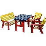 dobar Kindersitzgarnitur mit Kindertisch Kindersitzbank und zweimal Kinderstuhl, mehrfarbig