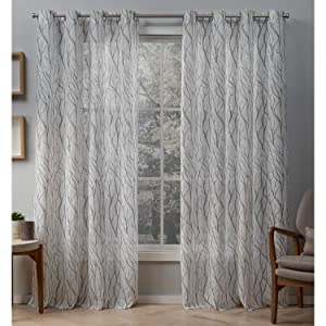 Exclusive Home Curtains Oakdale Sheer Textured Linen Grommet Top Curtain Panel Pair, 54x84, Dove Grey, 2 Piece