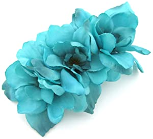 Triple Turquoise Apple Blossom Silk Flower Hair Clip with Teeth