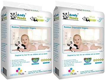 Andy Pandy Premium Bamboo Disposable Diapers, Newborn, 100 Count