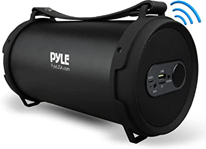 Pyle Portable Bluetooth Boombox Stereo System, Built-in Rechargeable Battery, Aux Input Jack, MP3/USB/Micro SD/FM Radio with Auto-Tuning, Convenient Carry Strap Included. (PBMSPG7)