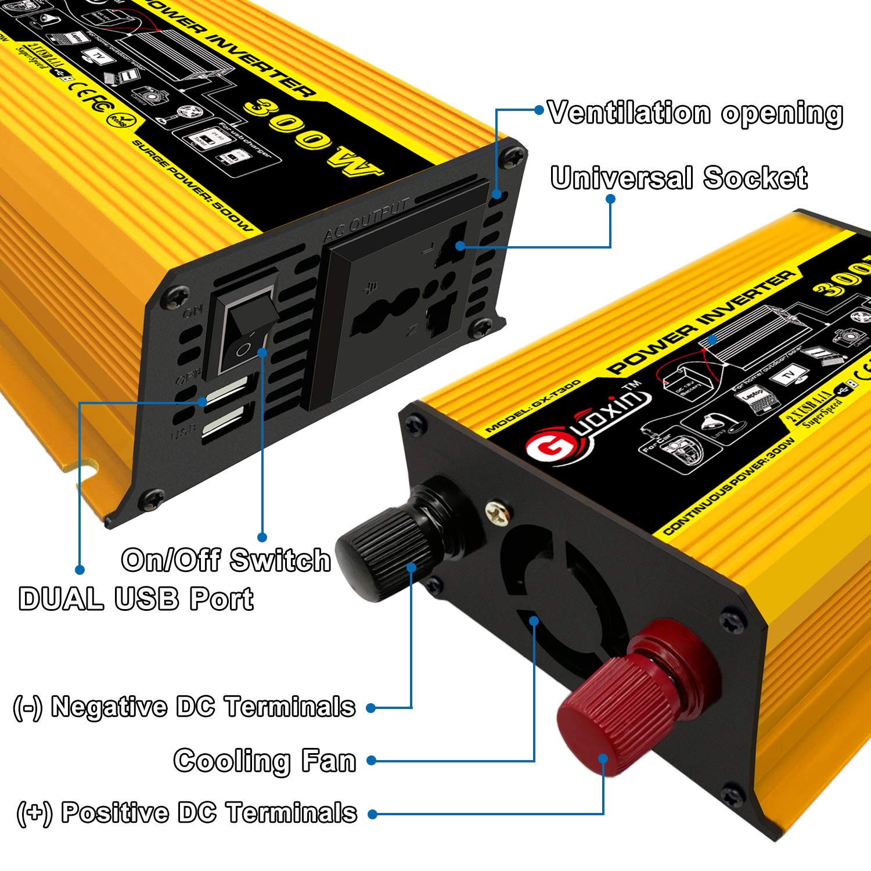 GUOXIN Convertisseur 12V 220V 300W Power Inverter Onduleur DC vers AC 220V 230V 240V Transformateur de Tension Adaptateur avec USB Chargeur Ports 5V//4.2A Voiture Allume Cigare