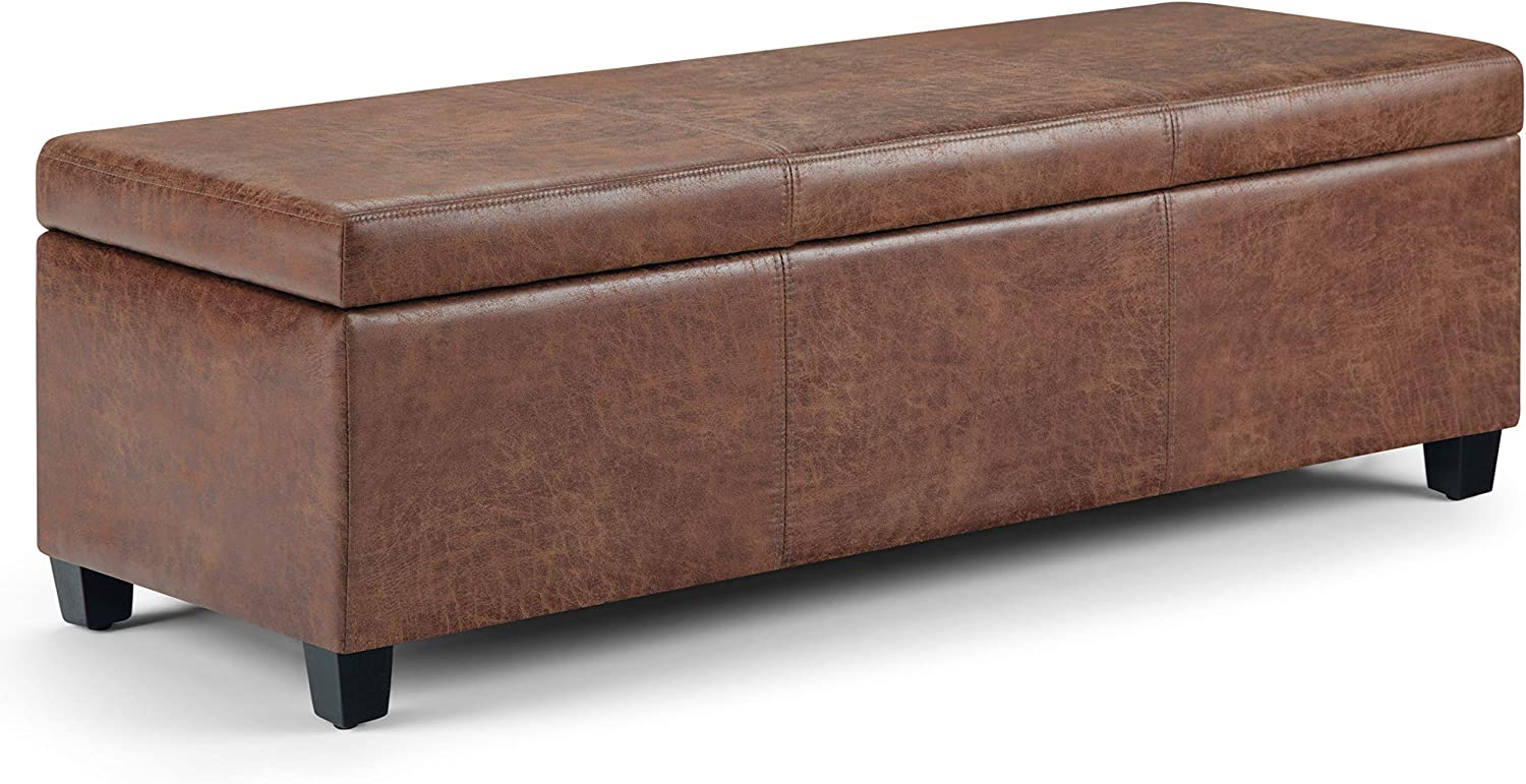 Simpli Home Avalon 48 inch Wide Rectangle Lift Top Storage Ottoman Bench in Upholstered Distressed Umber Brown Faux Air Leather with Large Storage Space for the Living Room, Entryway, Bedroom