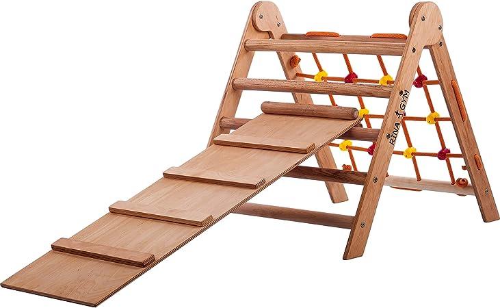 Escalera de escalada en interiores con red de escalada y corredera de rampa - Marcos de madera para niños, equipo de actividad para mejorar el ...