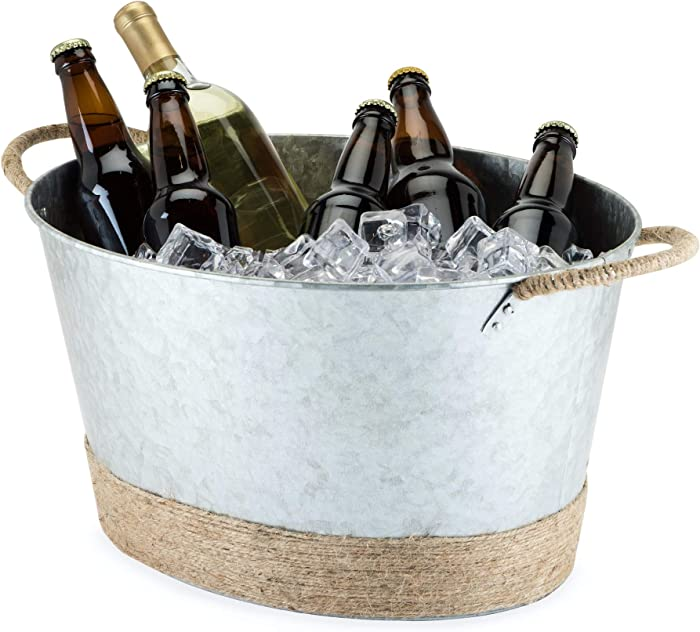 Twine Seaside Jute Rope Wrapped Farmhouse Galvanized Ice Metal Tub, Wine, Beer Bottle Bucket, 4.5 Gallons