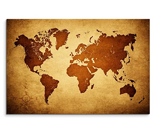 Panoramic Wall Art Canvas, 120 x 80 cm, Map of the World Brown