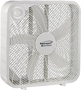 Brentwood Kool Zone Box Fan, 3-Speed 20-inch, White