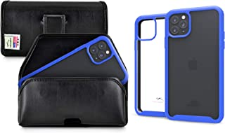 product image for Turtleback Tough Defense Case/Holster Combo Designed for New iPhone 11 Pro Max (2019) 6.5 Inch Military Grade Drop Tested Ultra Clear Back, Fitted in Leather Pouch Executive Belt Clip-Horizonal/Blue