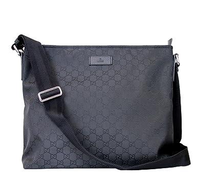 Amazon.com | Gucci Unisex Black Nylon Messenger Bag 339569 1000 ...