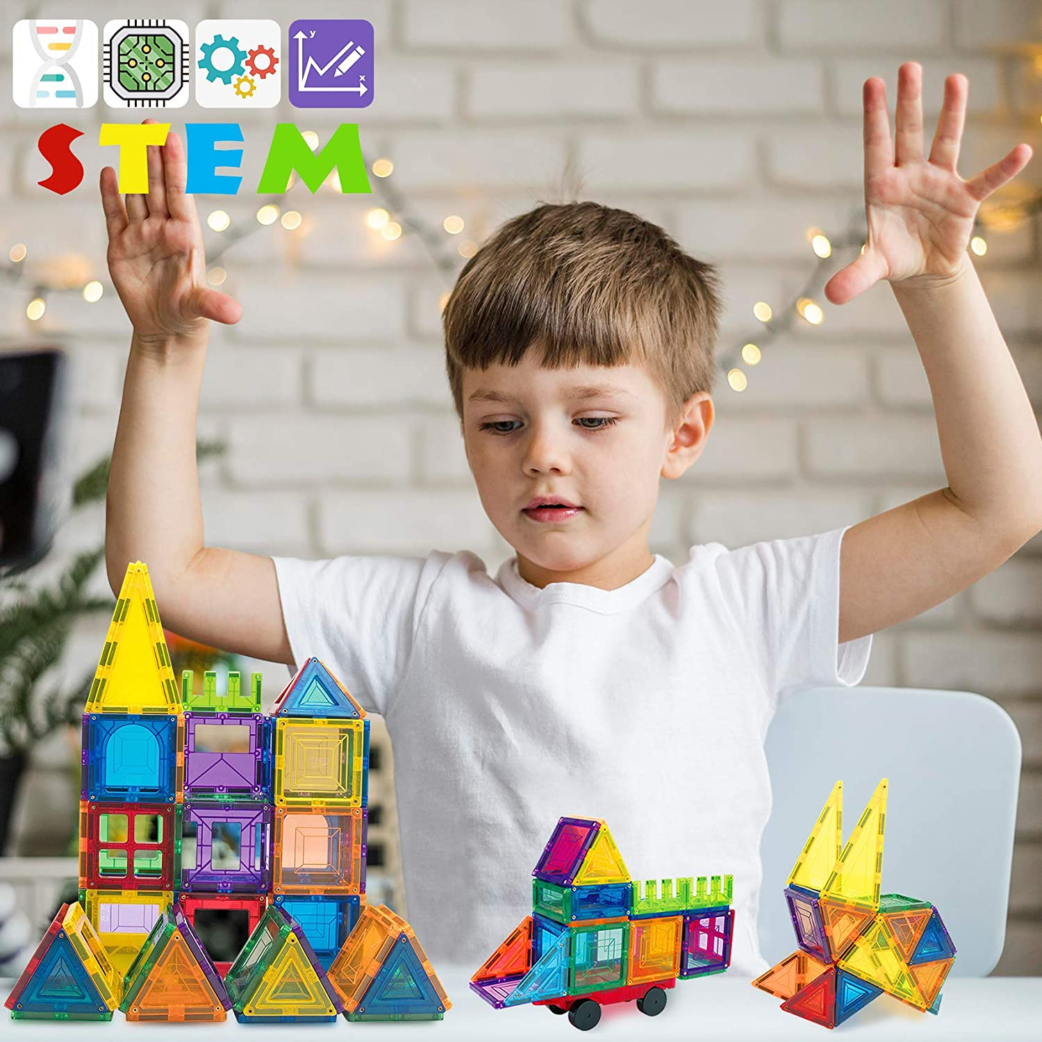 68 Piece Car Wheel and Idea Book Included 3D Construction Magnet Tiles Toys Set STEM Educational Gifts for Age 3+ JUMAGA Magnetic Building Blocks for Kids