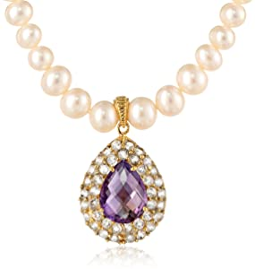 Gold Over Silver Graduated White Freshwater Cultured with Checker Cut Amethyst and White Topaz Accents Teardrop Pendant Necklace