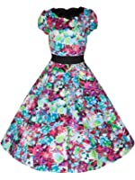 Ladies 40's 50's Vintage Style Woodland Floral Scallop Neck Flared Party Prom Tea Dress